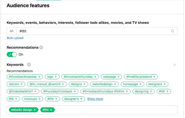 Keyword and Hashtag Ad Targeting
